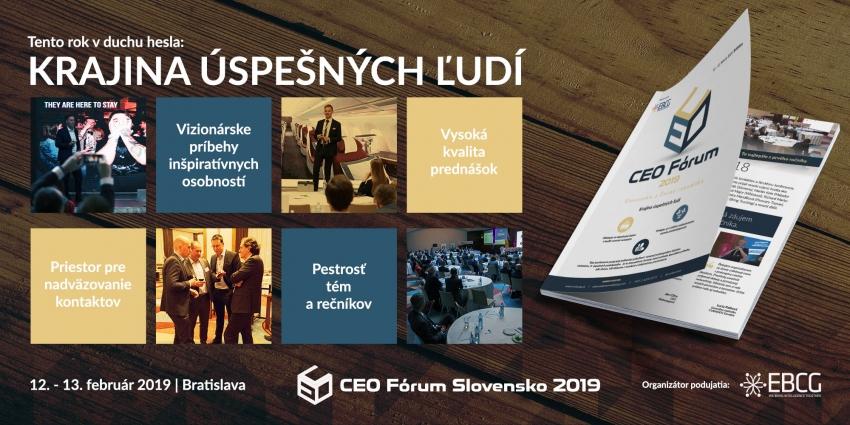 CEO Fórum Slovensko 2019: Krajina úspešných ľudí – 100 rokov úspešného biznisu