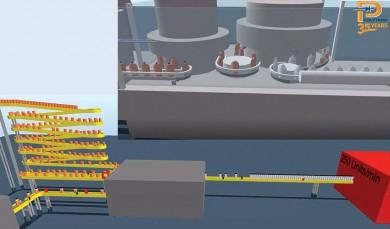 Odstranění překážek na lince pro stáčení nápojů pomocí 3D simulace